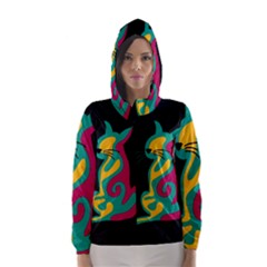 Colorful abstract cat  Hooded Wind Breaker (Women)