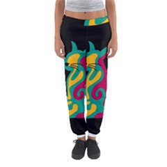 Colorful abstract cat  Women s Jogger Sweatpants