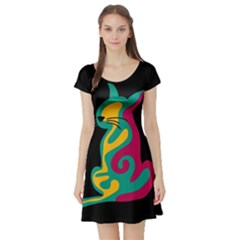 Colorful abstract cat  Short Sleeve Skater Dress