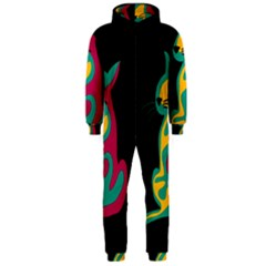 Colorful abstract cat  Hooded Jumpsuit (Men)