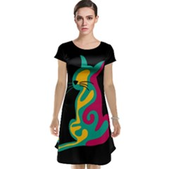 Colorful abstract cat  Cap Sleeve Nightdress