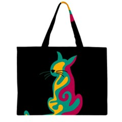 Colorful abstract cat  Large Tote Bag