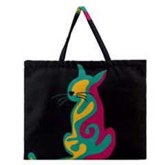 Colorful abstract cat  Zipper Large Tote Bag