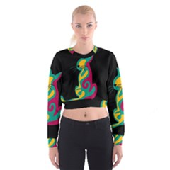 Colorful abstract cat  Women s Cropped Sweatshirt