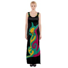 Colorful abstract cat  Maxi Thigh Split Dress