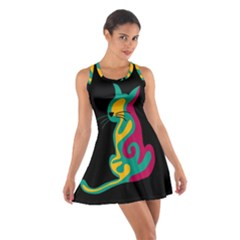 Colorful abstract cat  Cotton Racerback Dress