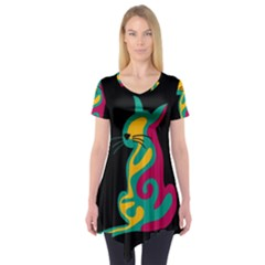 Colorful abstract cat  Short Sleeve Tunic