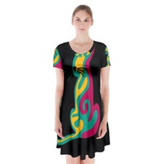 Colorful abstract cat  Short Sleeve V-neck Flare Dress