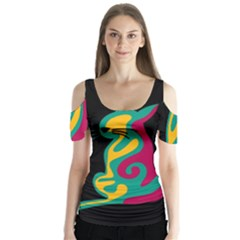 Colorful Abstract Cat  Butterfly Sleeve Cutout Tee