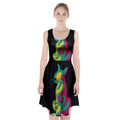 Colorful abstract cat  Racerback Midi Dress