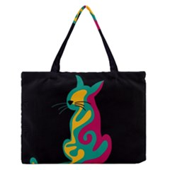 Colorful abstract cat  Medium Zipper Tote Bag
