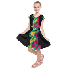 Colorful abstract cat  Kids  Short Sleeve Dress