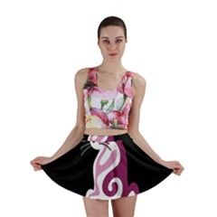 Pink abstract cat Mini Skirt