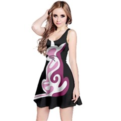 Pink abstract cat Reversible Sleeveless Dress
