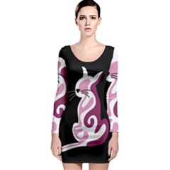 Pink abstract cat Long Sleeve Bodycon Dress