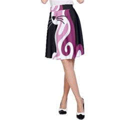 Pink abstract cat A-Line Skirt