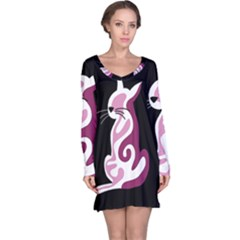 Pink abstract cat Long Sleeve Nightdress