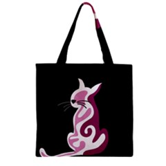 Pink abstract cat Zipper Grocery Tote Bag