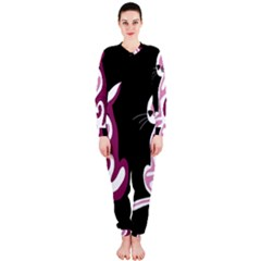 Pink abstract cat OnePiece Jumpsuit (Ladies)