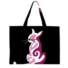 Pink abstract cat Large Tote Bag