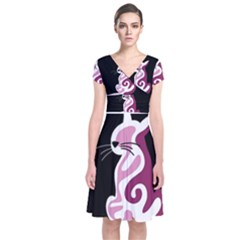 Pink abstract cat Short Sleeve Front Wrap Dress