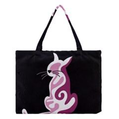 Pink Abstract Cat Medium Tote Bag