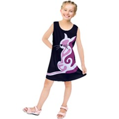 Pink abstract cat Kids  Tunic Dress