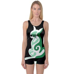 Green abstract cat  One Piece Boyleg Swimsuit