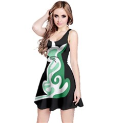 Green abstract cat  Reversible Sleeveless Dress