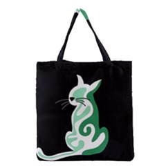 Green abstract cat  Grocery Tote Bag