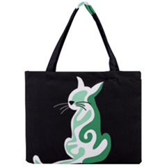 Green abstract cat  Mini Tote Bag