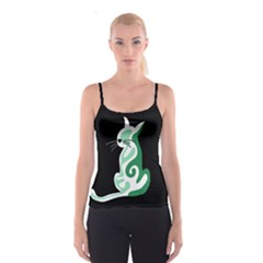 Green abstract cat  Spaghetti Strap Top