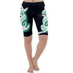 Green abstract cat  Cropped Leggings