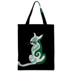 Green abstract cat  Zipper Classic Tote Bag