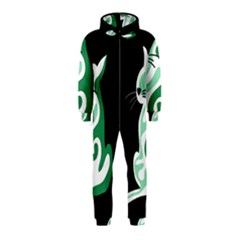 Green abstract cat  Hooded Jumpsuit (Kids)