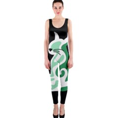 Green abstract cat  OnePiece Catsuit