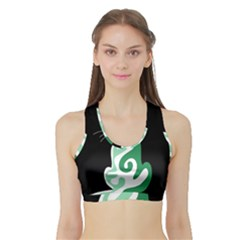 Green abstract cat  Sports Bra with Border