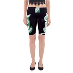 Green abstract cat  Yoga Cropped Leggings