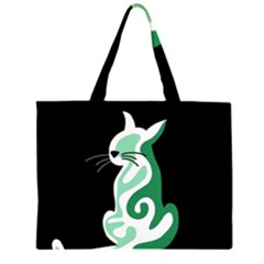 Green abstract cat  Large Tote Bag