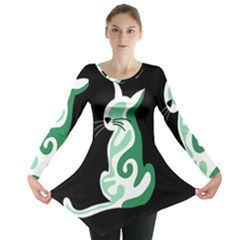 Green abstract cat  Long Sleeve Tunic