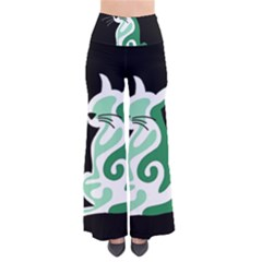Green abstract cat  Pants