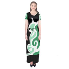 Green Abstract Cat  Short Sleeve Maxi Dress