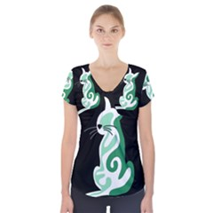 Green abstract cat  Short Sleeve Front Detail Top
