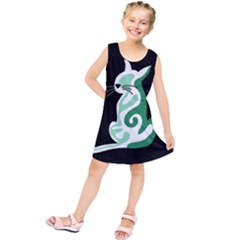 Green abstract cat  Kids  Tunic Dress
