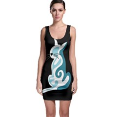 Blue abstract cat Sleeveless Bodycon Dress