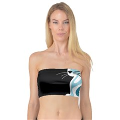 Blue abstract cat Bandeau Top