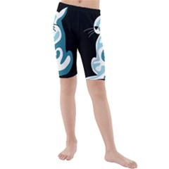 Blue abstract cat Kids  Mid Length Swim Shorts