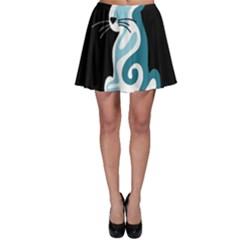 Blue abstract cat Skater Skirt