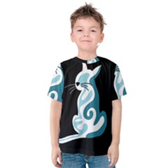 Blue abstract cat Kids  Cotton Tee