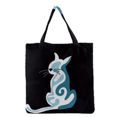 Blue abstract cat Grocery Tote Bag